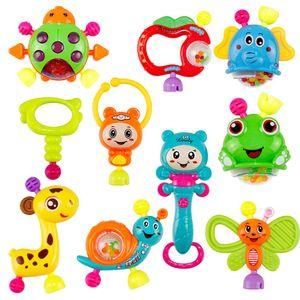 NightyNine 10 Stücke Montessori Rassel Beißring Spielzeug, Babyspielzeug AB 3 Monaten, Silikon Baby Rassel Beißring Set Ohne BPA mit Rassel,Baby Spielzeug