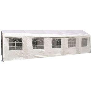 DEGAMO Seitenteil Seitenplane Seitenwand für Partyzelt, Länge 10 Meter, PVC weiß mit Fenstern