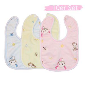 10er Set Baby Kleinkind Lätzchen Wasserdicht Lätzchen abwaschbar Baumwolle Sabberlätzchen mit Druckknopf (zufällige Farbe)