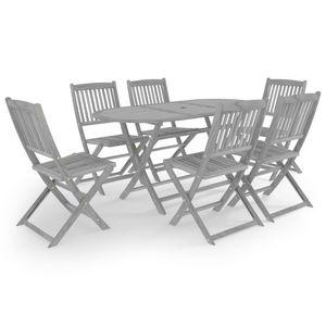 Gartenmöbel Essgruppe 6 Personen ,7-TLG. Terrassenmöbel Balkonset Sitzgruppe: Tisch mit 6 Stühle, Massivholz Akazie Grau❀8158