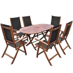 Hochwertigen Garten Sitzgruppe Gartengarnitur - 7-teiliges Outdoor-Essgarnitur Garten-Essgruppe Sitzgruppe Tisch + stuhl Massivholz Akazie☆9008