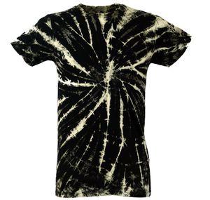 Batik T-Shirt, Herren Kurzarm Tie Dye Shirt - Schwarz, Baumwolle, Größe: L