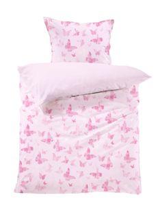 Kinderbettwäsche Set Clara, Lavea, 100 x 135cm + 40 x 60cm, Design Schmetterlinge, Farbe: Rosa, 100% Baumwolle