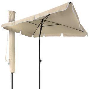VOUNOT Sonnenschirm für Balkon, 200 × 125 cm, Knickbarer Balkonschirm Rechteckig, Beige