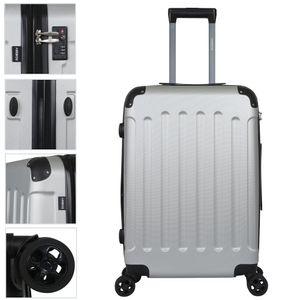 AREBOS Premium Reisekoffer Hartschalenkoffer Trolley Silber Größe M