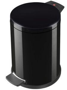 Hailo-Tret-Abfallsammler 14 Liter Metall schwarz - Abfallbehälter / Mülleimer / Abfalleimer mit Fußpedal - inklusive Inneneimer