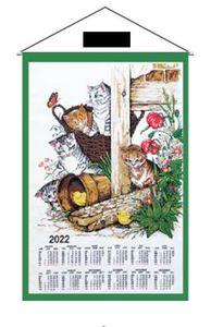 """Stoffkalender 2022 / Wandkalender  """" Katzen / Kätzchen """" 65x45 cm- mit Stab und Kordel"""
