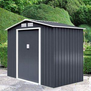 GOPLUS Geraetehaus Metall, Gerätehaus 213 x 185 x 127 cm, Schuppen Gartenhaus Geraeteschuppen inkl. Metallfundament aus Stahl, Grau