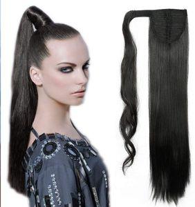S-noilite Ponytail Clip in Pferdeschwanz Extension Haarteil Haarverlängerung Zopf Hair Piece Glatt wie Echthaar Naturschwarz 58.5 cm