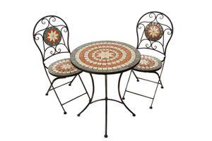 Hochwertiges Mosaik Tisch Set stabiles Gartenmöbel-Set Balkonset Bistroset, Farbe:Bistroset-W-M180054+55-rot-weiss