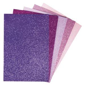 Moosgummi mit Glitter pink-violett sortiert, 5 Stück