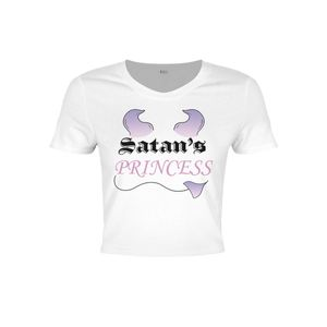 Grindstore Damen Crop-Top Satans Princess GR3221 (XS) (Weiß)