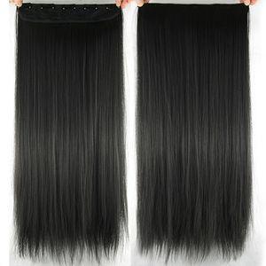 60cm Kunsthaar Clip In Extensions Gerade Lange Perücke Haar Haarverlängerung Haarteile Farbe : Natürliches Schwarz