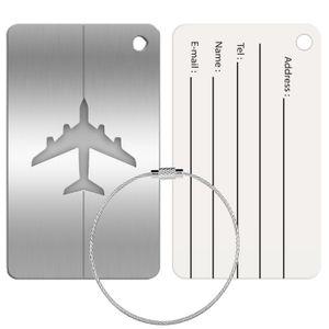 Reise Kofferanhänger Namensschild Gepäck Anhänger Schild Urlaub Flugzeug Trolley, Silber