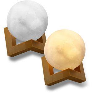 Eaxus® Mond Lampe 3D Nachtlicht dimmbar mit Touch-Steuerung und integriertem Akku. Nachtlampe in Mondkugel Form für Kinderzimmer
