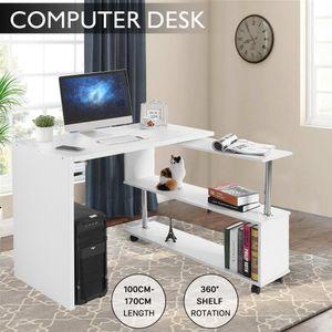 Eckschreibtisch Winkelkombination Schreibtisch Bürotisch mit Bücherregal und Rollen Weiß