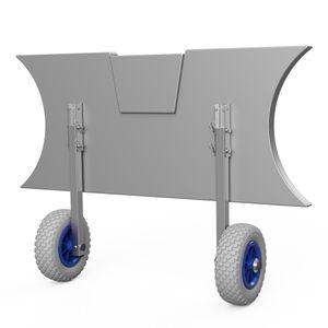 Heckräder, Slipräder, Schlauchbooträder, Transporträder, klappbar, SUPROD ET200, Edelstahl, grau/blau