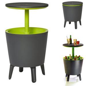 Keter Beistelltisch Getränkekühler Cool Bar Cocktailtisch Partytisch Stehtisch Garten 50x57-85 cm 30L grau - grün