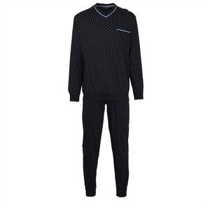 GÖTZBURG Herren Schlafanzug Set - lang, V-Ausschnitt, gemustert Blau 3XL