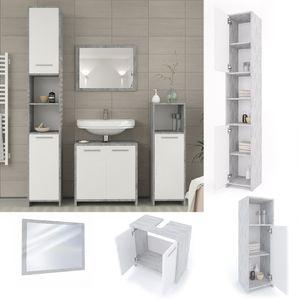 Vicco Badmöbel Set KIKO Grau Beton - Badezimmer Spiegel Waschtisch Unterschrank Badschrank Hochschrank