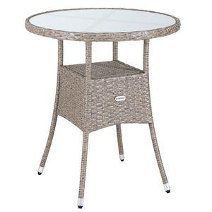 Casaria Poly Rattan Gartentisch Balkontisch Ø 60 cm Rund Milchglas Tischplatte Beistelltisch Gartenmöbel Grau / Beige