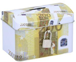 TOM sparschwein 200 Euro 11,6 x 8 cm Stahl gelb/weiß