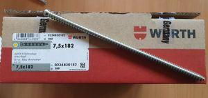 50 Stück Würth AMO III Schrauben 7,5 x 182 ohne Kopf AW 30 Fenstermontage NEU Art.-Nr. 0234830182
