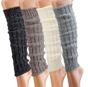 krautwear® 4 Paar Stulpen mit Alpakawolle ca. 40cm Legwarmers Grobstrickstulpen (alle 4 Farben)