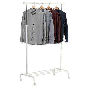 Kleiderständer, Metall, weiß, 4 Rollen