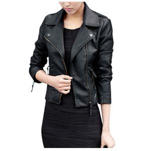 Damen Reißverschluss Solid Langarm Leder Jacke Mantel Outwear Größe:XL,Farbe:Schwarz