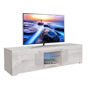 YOLEO TV-Lowboard Fernsehschrank Fernsehtisch TV-Schrank mit LED-Beleuchting Stehend TV-Regal 130x35x35 cm Weiß