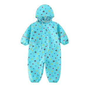 Kinder-Regenanzug Einteiliger Kinder-Regenanzug Mit Kapuze Regenmantel Blau M.