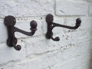 4-er Set, 4 Stück Doppelhaken Wandgarderobe Wandhaken Gusseisen
