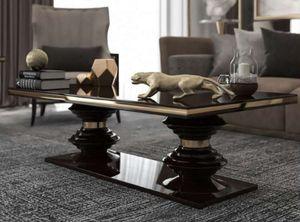 Casa Padrino Luxus Art Deco Couchtisch Dunkelbraun Hochglanz / Gold - Handgefertigter Wohnzimmertisch - Massivholz Tisch - Luxus Qualität - Art Deco Möbel
