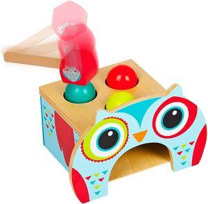Baby Hammerbank aus Holz - Eule - Klopfbank für Kinder mit Hammer und Kugeln