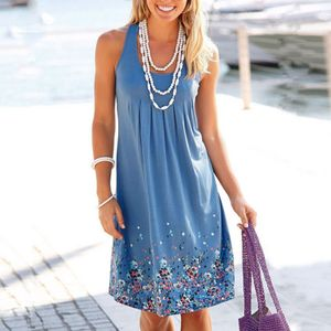 Damen Sommer Loose Casual Rock Print Brust Plissee O-Ausschnitt Ärmelloses Kleid Größe:S,Farbe:Hellblau