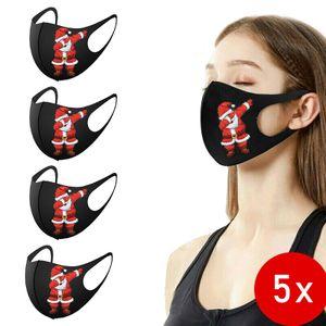 5 Stk Weihnachten Gesichtsmaske Schwarz Mund-Nasen-Schutz mit Weihnachtsmannmotiv , waschbar