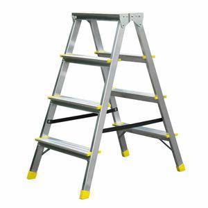 Trittleiter mit 4 Stufen – doppelseitige Profi-Leiter aus Aluminium, 2,8 m Arbeitshöhe, bis zu 150 kg Belastung, Klapptritt für Haushalt