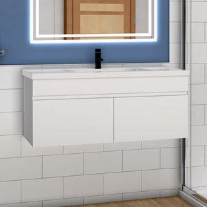 Badmöbel Set 100cm Badezimmer Waschtisch mit Unterschrank Weiß Matt