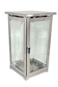Grablaterne Edelstahl eckig modern mit Facettenglasscheiben 21 cm