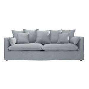 Großes 3er Sofa HEAVEN 215 cm grau Leinenstoff Couch Landhaus Couchgarnitur Hussensofa abnehmbarer Bezug