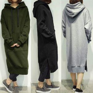 ZANZEA Damen Hoodie Kleid Pullikleid Sweatshirt Sportkleid Kapuzenpullover Dress Army Green M
