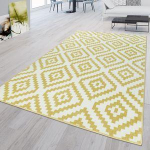 Kurzflor Teppich Gelb Weiß Wohnzimmer Flauschig Rauten Muster Ethno Design, Größe:160x220 cm