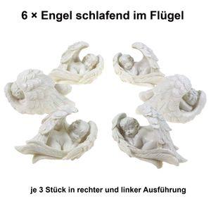 6 x Engel im Flügel weiß 2 fach sortiert 8cm Polyresin Weihnachten Engelsflügel