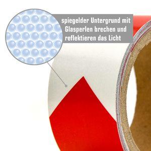 Reflektorband Selbstklebend 5m x 5cm Reflektierendes Warnband Klebeband Rot Weiß