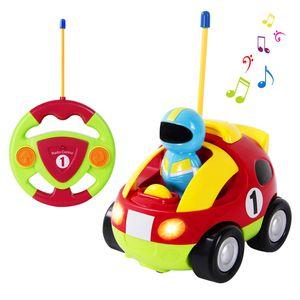 RC Zug Polizeiwagen Traktor Ferngesteuertes Spielzeugauto Cartoon Wagen für Kinder Rot