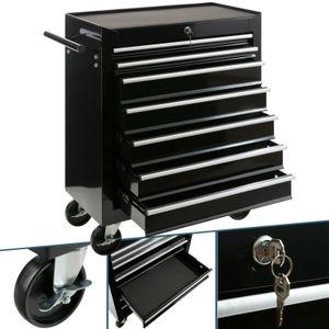 AREBOS Werkstattwagen Werkzeugwagen Werkzeug Rollwagen 7 Fächer schwarz - direkt vom Hersteller