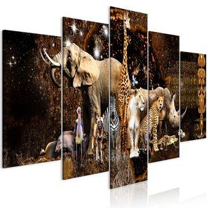 Modernes Wandbild g-C-0284-b-m (200x100 cm) - 5 Teilig Bilder Fotografie auf Vlies Leinwand Foto Bild Dekoration Wand Bilder Kunstdruck AFRIKA TIERE NASHORN ELEFANT ZEBRA