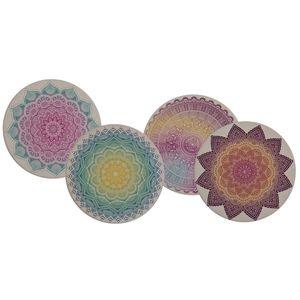 4er Set Getränke-Untersetzer ' Mandala 'aus Keramik mit Korkboden