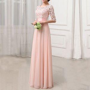 Frauen-Kleid-Spitze-Chiffon- halbe Huelsen-duennes Maxi-Kleid-elegantes Prinzessin-Abend-Partei One-PieceXXL